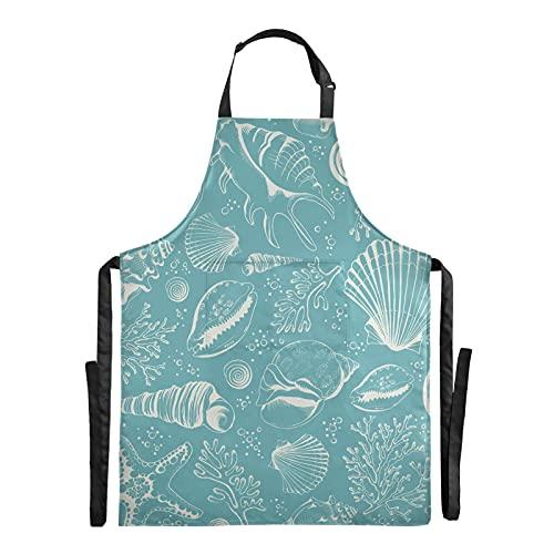 AQQA Delantal de barbacoa de chef marino sin costura con conchas y corales, delantal de barbacoa ajustable de 88x68 cm, delantal de hombre con gota de agua para hombres y mujeres