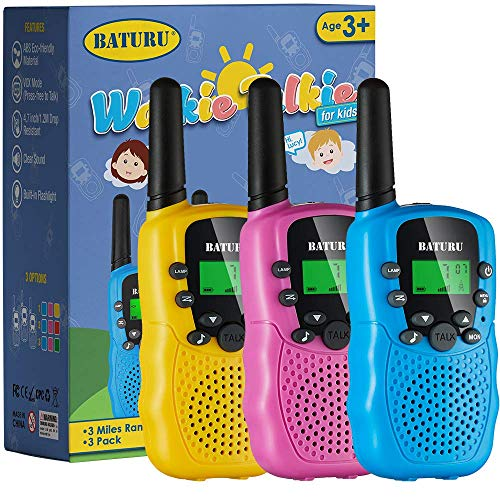 Walkie Talkies for Kids Toys 22 Channels 2 Way Radio Toy 3 KM Long Range with Backlit LCD Flashlight, Best Gifts for 3-12 Year Old to Outside Adventures, Camping, Hiking(3 Pack)