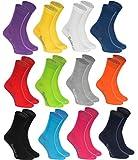 Rainbow Socks - Hombre Mujer Calcetines Colores de Algodón - 12 Pares - Negro Blanco Gris Morado Azul Marino Pantalones Vaqueros Naranja Rojo Amarillo Verde Azulado Verde Fucsia - Talla 42-43