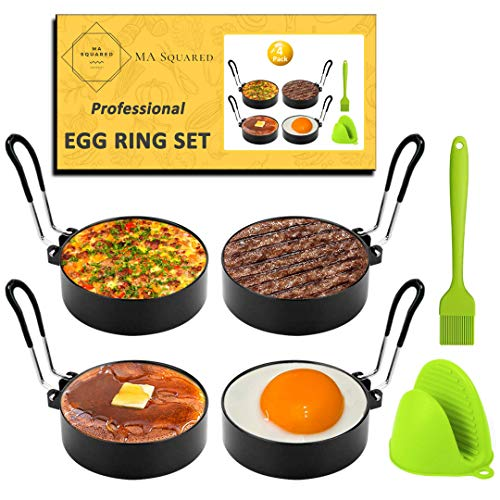 COMPLETE Egg Rings Set - 4 Non-Stick Egg Ring Molds with PVC Handles, 1 Silicone Brush, and 1 Silicone Glove. Professional Breakfast Tool For Eggs & Pancakes by MA SQUARED.