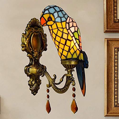LONGJUAN-C Loro Vintage Europeo Lámpara Pared Apliques de Pared Cristal Lámpara Pared de Estilo Tiffany Luz romántico clásico para Dormitorio, salón