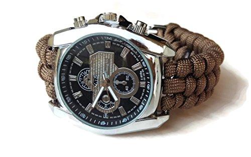 Orologio da polso uomo in acciaio quadrato cronometro Bracciale escursionismo paracord 550 marrone