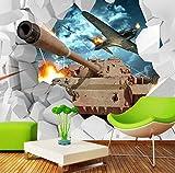 Hlonl Benutzerdefinierte Wandbild 3D Stereoskopische Panzer Tapeten Militärische Thema Tapete Kreative Persönlichkeit Flugzeug Hintergrund Fototapete-120X100CM