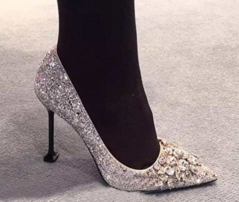 Xue Qiqi Court Schuhe High Heels weibliche Geldbuße mit Spitzen einzelnen Schuhen weibliche Silber Strass Brautschuhe Brautschuhe Hochzeit Schuhe weiblich 40, reines Silber B07FHZ45WM  Überlegene Qualität