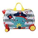 GURHODVO Kids Luggage With Spinner Wheels For Boys Girls Carry On Hardshell Suitcase Travel Trolley Toddlers children GIFT (Captain Octopus, RIDE ON)