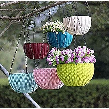 "Shree Parshva 5 Pcs Hanging Baskets Rattan Waven Flower Pot Plant Pot With Hanging Chain For Houseplants Garden Balcony Decoration In Multicolor lants Plastic Hanging Flower Pots Multocolor With iron Chain(Daimeter-8"" Inch)"
