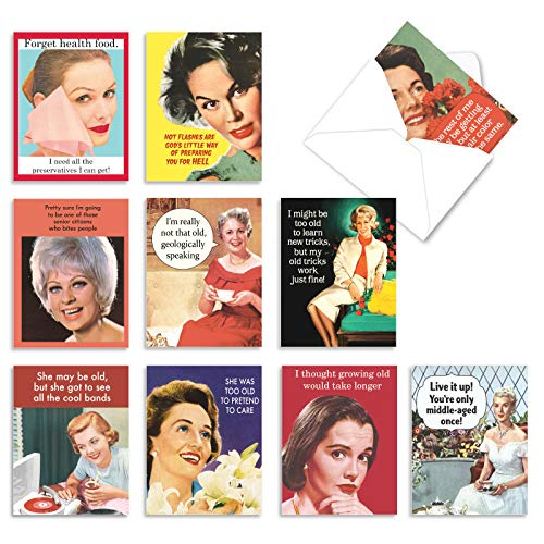 The Best Card Company - 10 Funny Birthday Cards Assorted (4 x 5.12 Inch) - Adult Retro Assortment, Boxed Greeting Cards with Envelopes - Ageless Wisdom M6620BDG