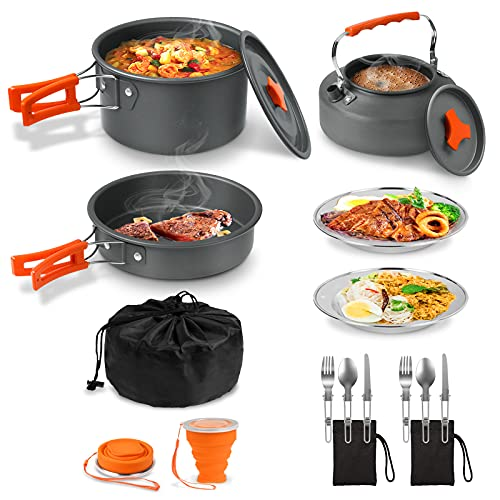 Camping Cooking Cookware Set 18pcs, Outdoor Camping Pots Pan Kettle Mess kit with Stainless Steel Plates, Folding Forks Knives Spoons Cups, Non-Stick Lightweight, for Hiking Picnic Fishing