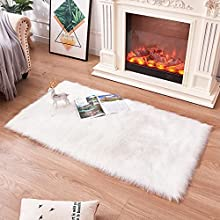 Alfombras Dormitorio, Lavables Alfombras Salon Modernas por Infantiles alfombras de habitacion Juvenil ,pequeñas Alfombras de Pasillo (Blanco, 60x90cm)