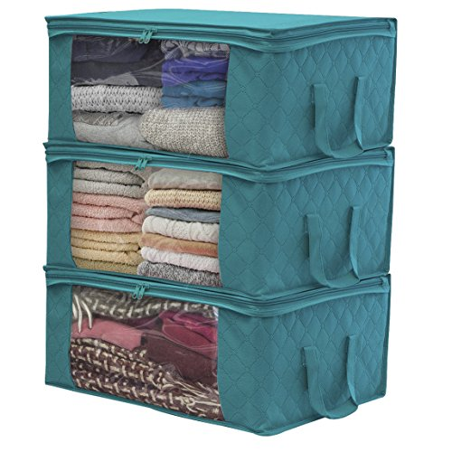 Sorbus Foldable Storage Bag Organizers, Large Clear Window & Carry Handles, Great for Clothes, Blankets, Closets, Bedrooms, and More (3-Pack, Aqua)