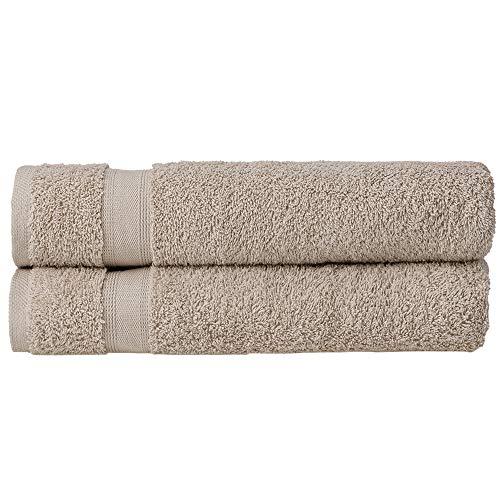 nottoc Toallas de baño de rizo, color beige, juego de 2 toallas de ducha de 70 x 140 cm, 100% algodón, absorbentes, supersuaves toallas turcas