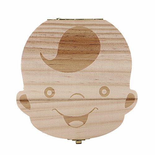 Ularma Caja de almacenaje de madera guardar los dientes de leche para niños chico (Inglés)