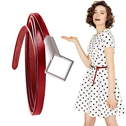 HENTEK Damen Ledergürtel Gürtel Belt Schmal Mit Exquisite Raute Schnalle Einstellbar Taillengürtel Mode Damengürtel (Rot)