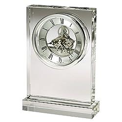 Howard Miller Brighton Table Clock 645-808 – Optical Crystal with Quartz, Skeleton Movement