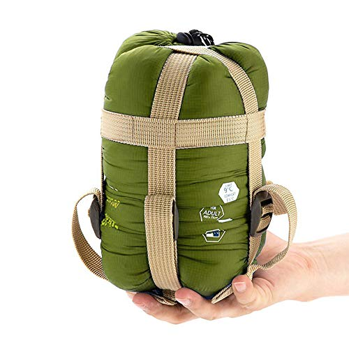 """ECOOPRO Warm Weather Sleeping Bag - Portable, Waterproof, Compact Lightweight, Comfort with Compression Sack - Great for Outdoor Camping, Backpacking & Hiking-83 L x 30"""" W Fits Adults (C-Olive Green)"""