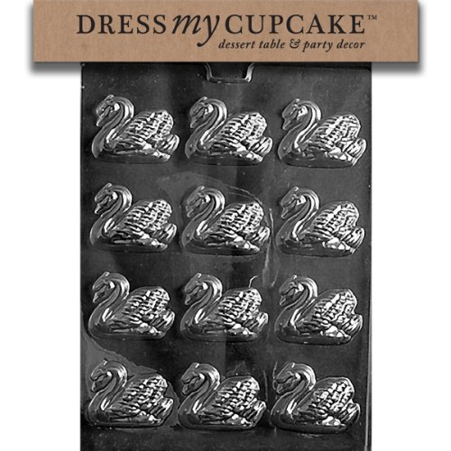 Dress My Cupcake DMCW022 Chocolate Candy Mold, Small Swans, Wedding
