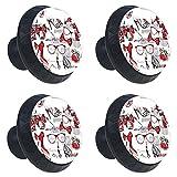 (4 piezas) pomos de cajón para cajones con tiradores de cristal para gabinete, hogar, oficina, armario, tacones altos rojos, 35 mm