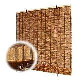 LAK Estores Caña de carbonización, Persiana Enrollable de bambú para Interior, Exterior, Patio, Personalizable, Tejido a Mano, Varios tamaños