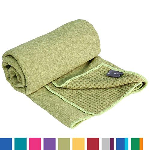 GRIP2 Yoga Towel, Yoga-Handtuch mit Antirutsch-Noppen, rutschfest, Mikrofaser-Yogatuch, sehr gut für Hot Yoga (olive-grün), Yogamattenauflage, antibakteriell