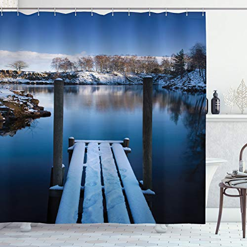 Ambesonne Landscape Shower Curtain, Photo of Wooden Deck on The Shore of a Small Lake in Frozen Winter Sweden, Cloth Fabric Bathroom Decor Set with Hooks, 70' Long, White Blue Brown