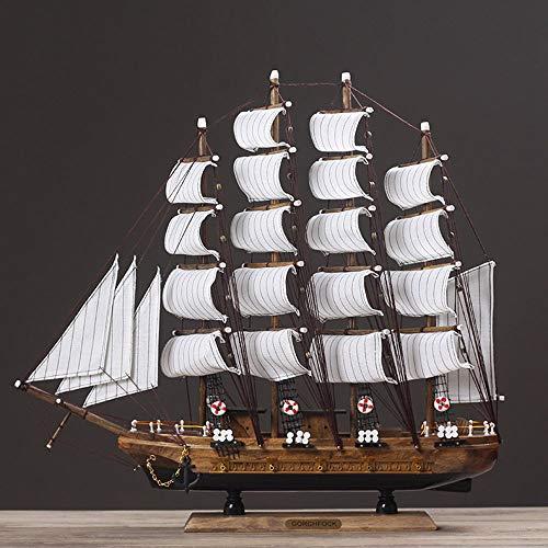 SYyshyin Adornos creativos de moda, modelo de barco de vela de madera, decorativos, suaves, adornos de barco (48 x 45 cm)