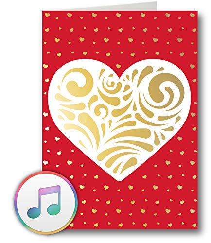 PlayMegram bespielbare Audio Grußkarte mit USB Anschluss und 128 MB Speicher, Für eigene Musik oder Sprachnachricht, MP3 Format, Liebesgrußkarte, Glückwunschkarte, Kreative Geschenkkarte