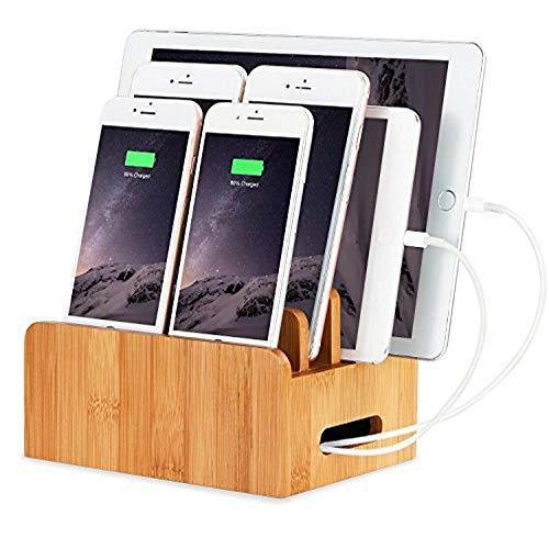Bureau en Bois de Bambou Cordons Multi-appareils Support Organisateur et Station de Charge Chargeur Docks Support de Berceau pour iPhone iPad Samsung Huawei OnePlus LG Sony Smartphones et Tablets