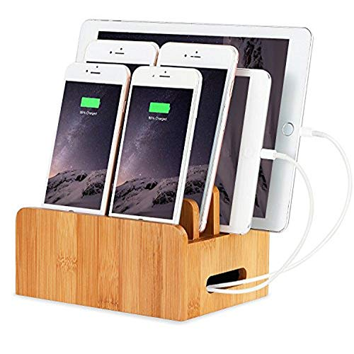 XPhonew Bamboo Wood Desktop Multi-device Cords Organizer Stand and Charging Station Charger Docks Cradle Holder for iPhone iPad Samsung HTC Huawei Xiaomi OnePlus LG Smart Phones and Tablets