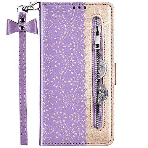 Hpory Kompatibel mit Galaxy Note 10 Plus Hülle, Samsung Galaxy Note 10 Plus Handyhülle Blumen Muster PU Leder mit Reißverschluss Handschlaufe Geldbörse Wallet Case Cover Schutzhülle Tasche - Lila