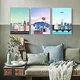 Lienzo de pinturas de dibujos animados famoso paisaje de la ciudad cartel de viaje e impresión Roma Dubai Tokio decoración del hogar, 40 x 60 cm x 3 sin marco