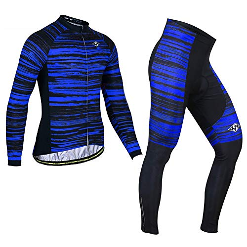 PGone Hommes Hiver Vélo Jersey Road Mountain Vélo Vêtements Ensemble - Pantalon Veste Combo en Plein air à Manches Longues Vélo VTT Vêtements de Sport Bleu Grain (Size : Large)