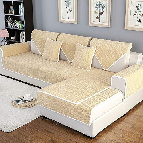 Schnittsofa Abdeckung Sofabezug Couch Pad Komfort Plüsch L Form Sofa überwürfe Schonbezug Sessel Möbel Protector Für Haustiere Kinder rutschfeste Sofa Handtuch (1 PCS),Yellow-110x180cm/43 x71