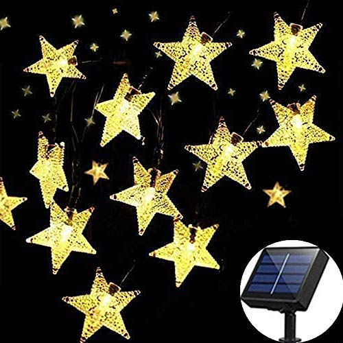 LiyuanQ Solar Star String Lights Garden, 50 LED Star Fairy Lights Outdoor Solar Powered Led Star String Light Waterproof 8 Modes Decorative Light for Thanksgiving Garden Patio Party Wedding 23ft Warm