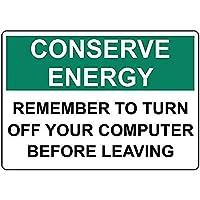 エネルギーを節約する覚えておいてくださいコンピュータをオフにしてくださいブリキの看板の壁の装飾金属のポスターレトロなプラークの警告サインオフィスカフェクラブバーの工芸品