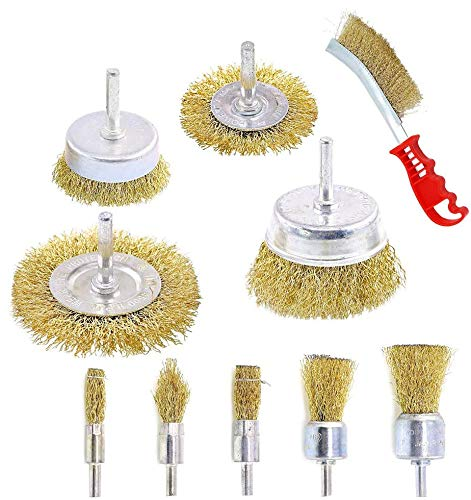 10 Pcs Wire Brush Set, Brass Coated Wire Brushes for Drill Paint Stripper Rust Remover Wire Wheel and Cup Brush Set