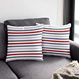 PARTY BUZZ Soft Decorative Striped Throw Pillow Covers (18x18, Set of 2) Red Gray and White Stripe Accent Pillowcases for Couch and Sofa