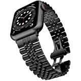 Miimall Compatible con Apple Watch Series 6/SE/5/4/3/2/1 40 mm 38 mm, correa de repuesto de acero inoxidable de alta calidad con cierre de mariposa para Apple Watch 40 mm 38 mm – Negro