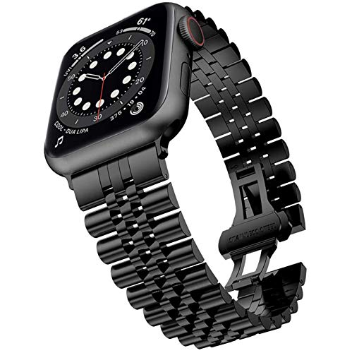 Miimall Compatible con Apple Watch Series 6/SE/5/4/3/2/1 40 mm 38 mm, correa de repuesto de acero inoxidable de alta calidad con cierre de mariposa para Apple Watch 40 mm 38 mm – Negro