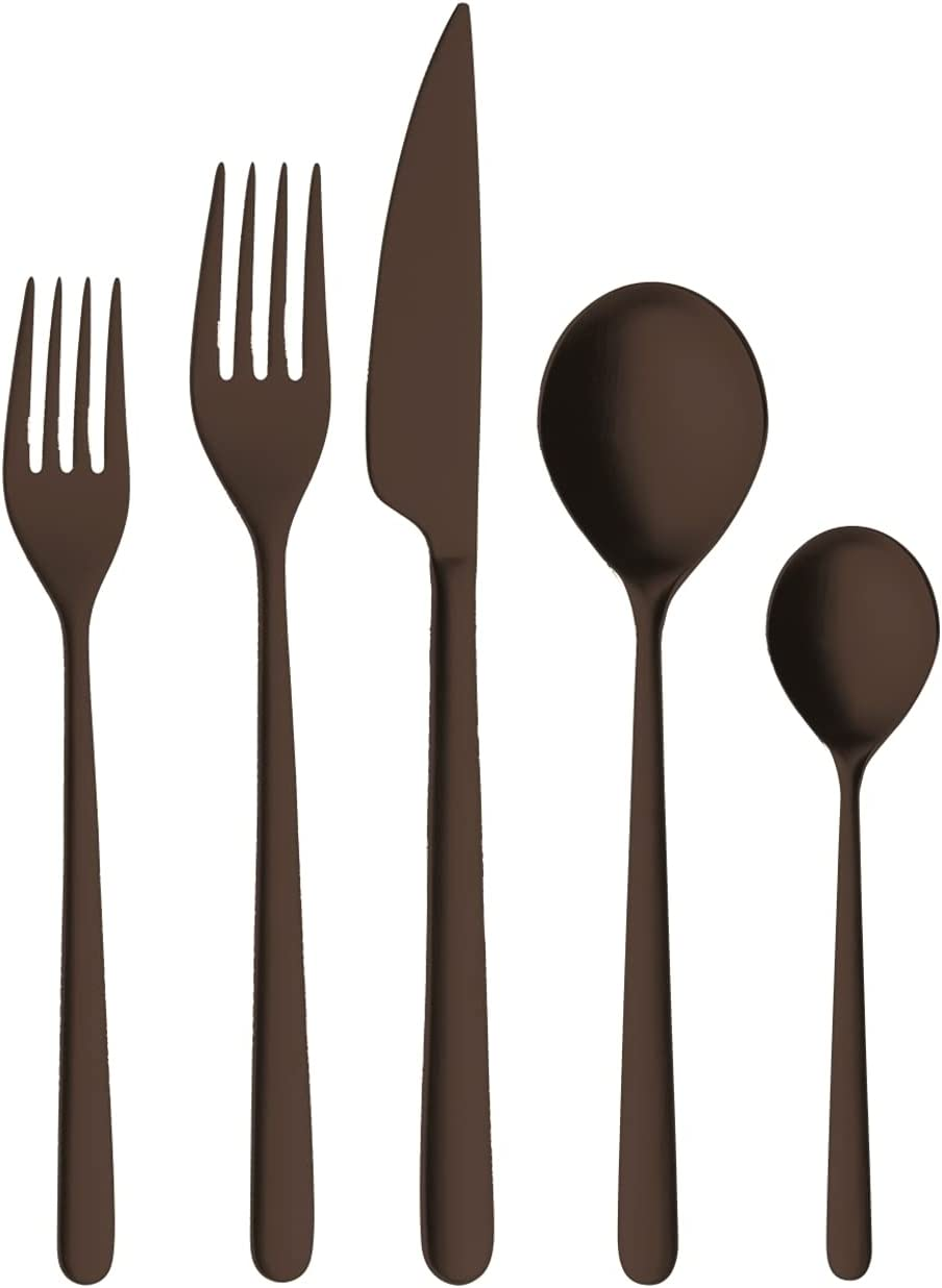 Mepra Linea Ice Oro Nero 20 Piece with Knive Cutlery Table 4 New York Mall Recommendation Set