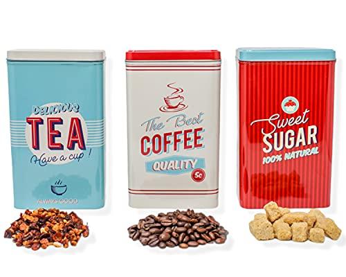 Selldorado® 3X Set di barattoli per conservare Il caffè, i Cereali, la Pasta, Scatola di immagazzinamento/Barattolo del caffè retrò per Lo Zucchero, Il tè - Barattolo del caffè 19 x 11,5 cm