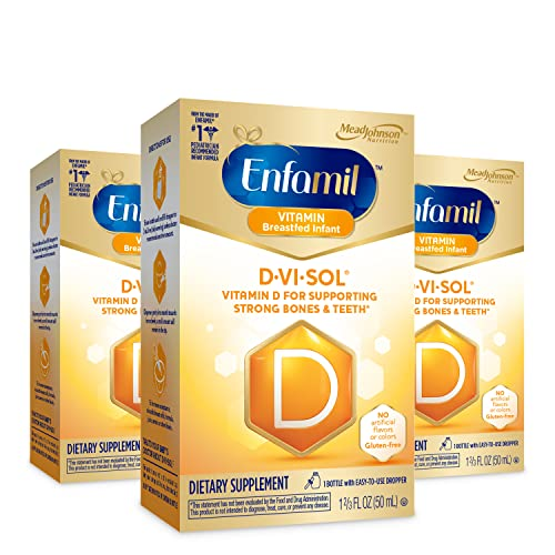 Enfamil D-Vi-Sol Vitamin D Liquid Supplement Drops for Infants, Supporting Strong Teeth & bones in Newborn Babies, Easy-to-Use, Gluten Free, 50 mL Dropper Bottle, Pack of 3