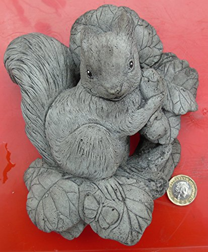 Wall Plaque of a Squirrel. Stone Garden Ornament. Hand Mixed, Cast, Coloured and Finished by Bekki. 14 x 6 x 15 cms, 822 grams