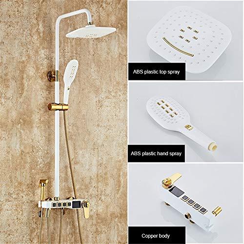YWZNB Duschsysteme, Duscharmaturen Digitale Thermostatanzeige Kann Heben Luftschub Duschsäule,Weiß