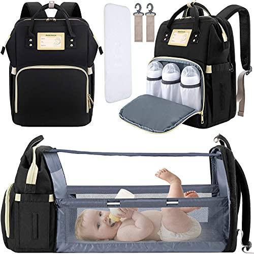 Baby Diaper Bag Backpack with Changing Station Diaper Bags for Baby Bags for Boys Diaper Bag with Bassinet Bed Mat Pad Girl Men Dad Mom Travel Waterproof Stroller Straps