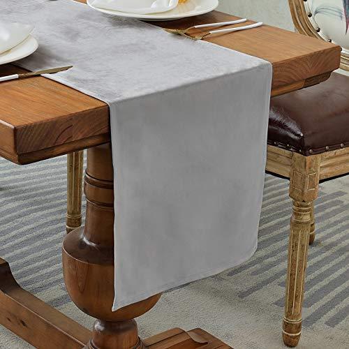 Balcony&Falcon Camino de mesa de terciopelo moderno, lavable, elegante, textiles para el hogar, para interiores y exteriores, decoración de mesa (terciopelo plateado, 35 x 240 cm)
