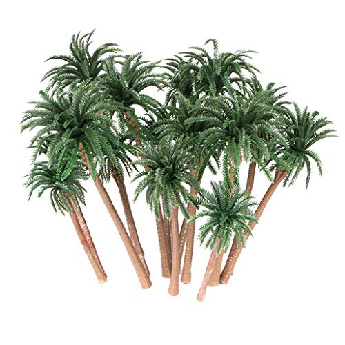 Ymeibe 15Pcs Coconut Palm Model Trees Diorama Layout Architecture Trees Scenery Miniature Landscape Cake Toppers Decoration 4-6.25 inch