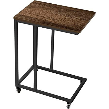 AZ L1 Life Concept Industrial Side Table, End Table for Coffee Laptop Tablet, Mobile Table with Rolling Casters, Steel Frame, for Living Room, Home Office Dark Brown