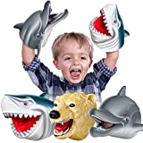 Geyiie Shark Hand Puppets, Kids Hand Puppets Toys Shark Dolphin Soft Rubber Puppets, Sea Animal Shark Head Role Play Toy Gift for Boys Girls Toddlers Adults, Party Favor Holiday Toys, 3 Pack
