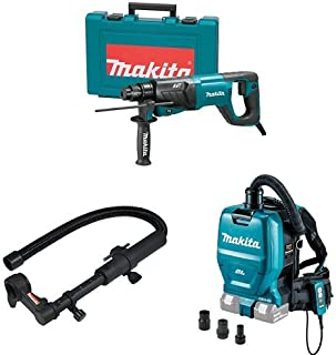 Makita HR2641 1-Inch AVT Rotary Hammer, accepts SDS-PLUS bits (D-Handle), 193472-4 Dust Extraction Attachment, XCV05ZX 18V X2 LXT (36V) Brushless Backpack Dust Extractor/Vacuum
