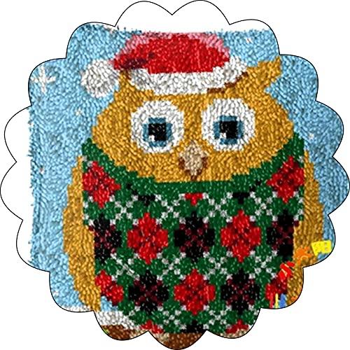 Cojín de bricolaje alfombra cubierta arte de la mano pestillo del gancho del patrón Kits Square almohada Impreso 16X16 pulgadas de navidad de la familia ganchillo Costura manualidades for niños y adul